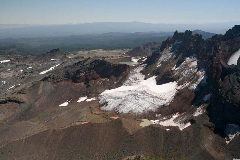 Broken Top: Bend Glacier, Main Segment, View SE <br> (BrokenTop082807-_101.jpg)