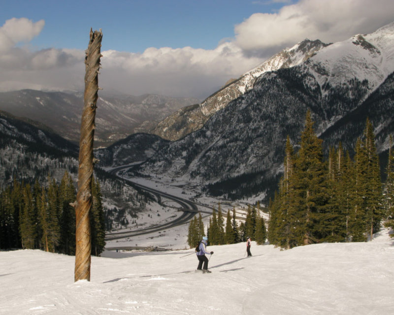 Skiing down Copper Mountain, Colorado.  ( I-70 in the background)