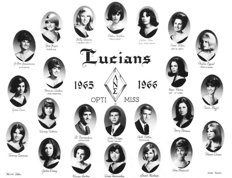 1965 - 1966 - the Lucians Club at Miami High School