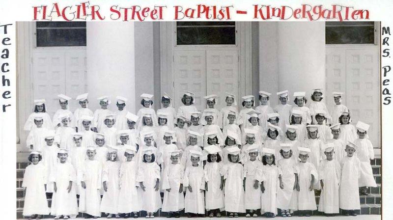 1955-56 - all the Kindergarten classes at Flagler Street Baptist Church, Miami