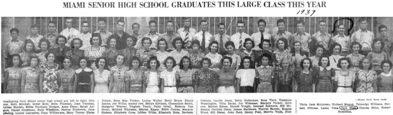 1939 - a Miami Daily News story and photo of the graduating class from Miami High