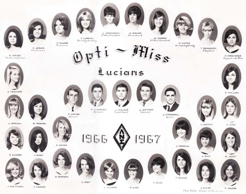 1966 - 1967 - the Lucians Club at Miami High School