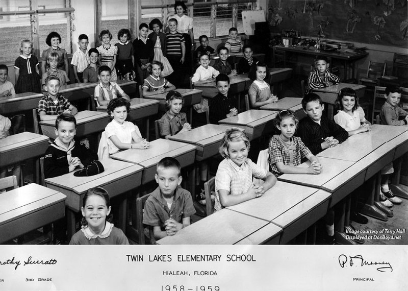 1959 - Mrs. Surratts 3rd grade class at Twin Lakes Elementary in Hialeah  (comments below)