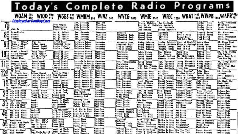 1955 - guide to local Miami area radio stations