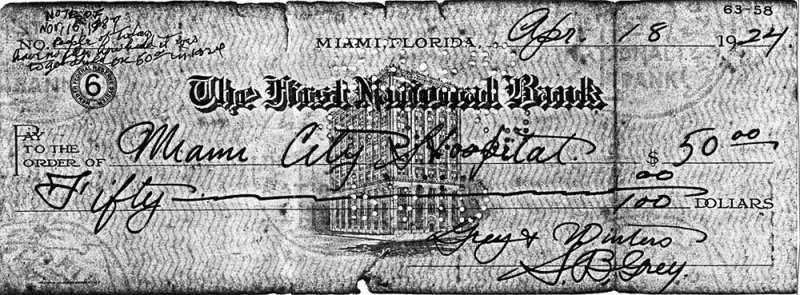 1924 - S. B. Greys check for $50 to Miami City Hospital for birth of his son Burl Grey