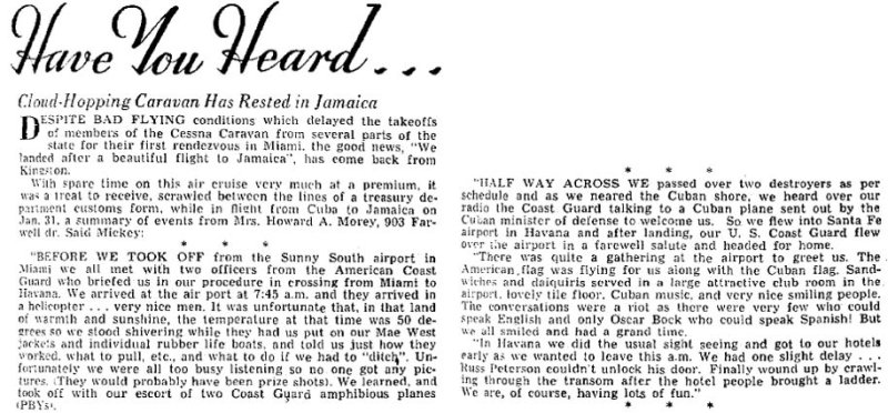1952 - article about Coast Guard providing PBY escorts for group of private aircraft from Sunny South Airport to Havana