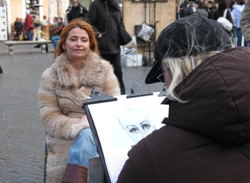 Piazza Navona, artist & model