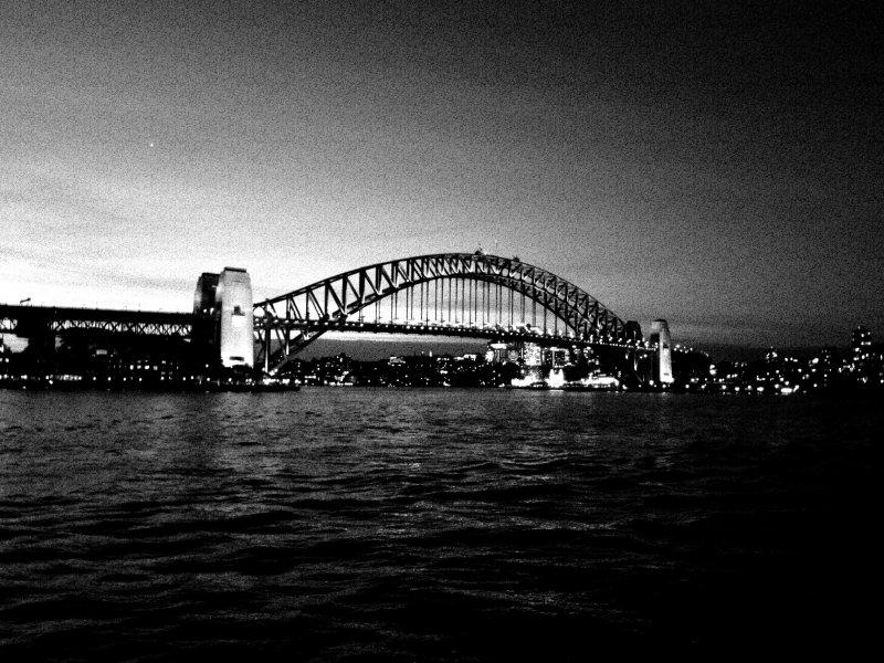 Harbor Bridge at Night Black and White