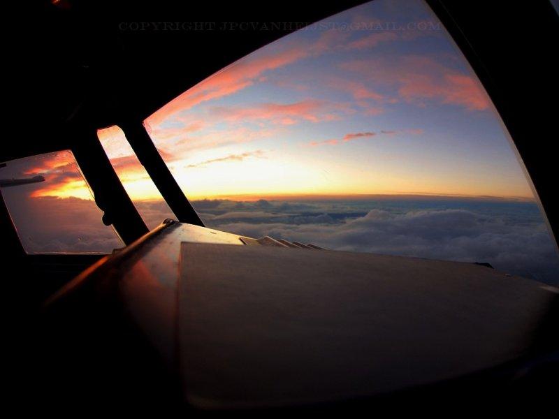 Cockpit during sunrise [Nikkor 10.5mm]