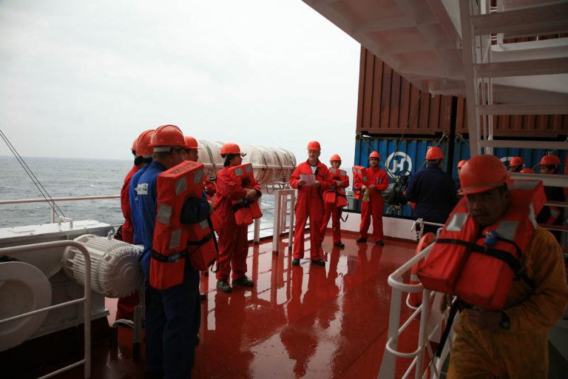 Crew Being Briefed at Man Overboard Drill