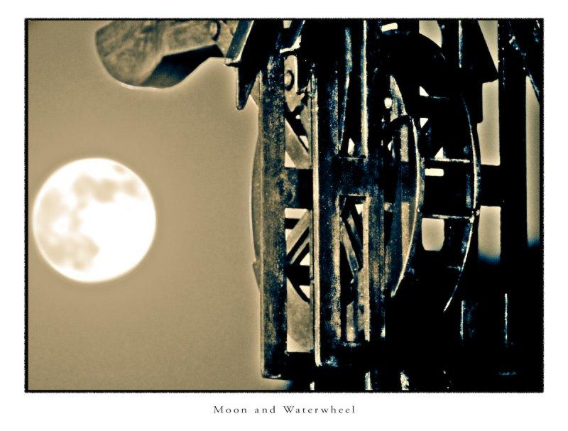 Moon and Waterwheel (HDR)