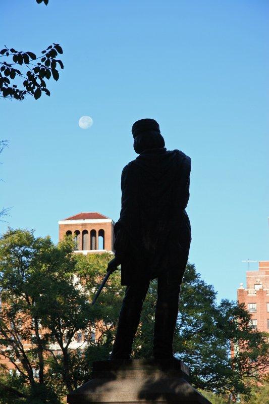 Garibaldi Statue and Morning Moon