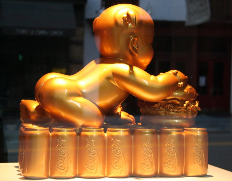 Gold Baby with Coca Cola - SOHO Gallery Window