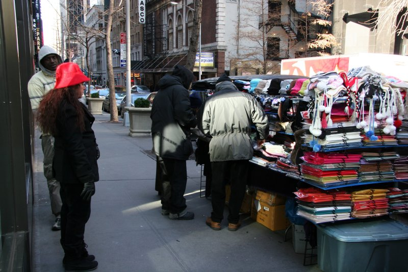 Hat & Scarf Vendor at 45th Street