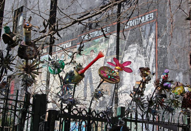 Sculpture Fence at La Plaza Cultural Community Garden