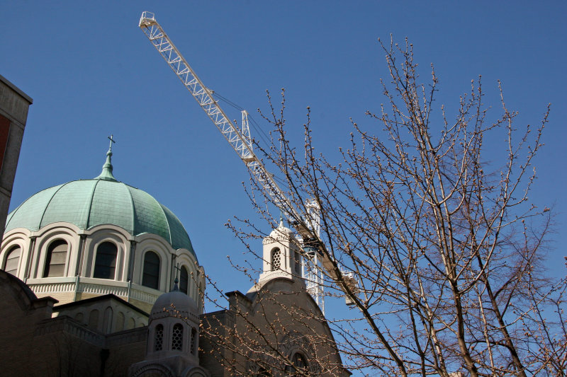 Ukranian Church & Construction Crane