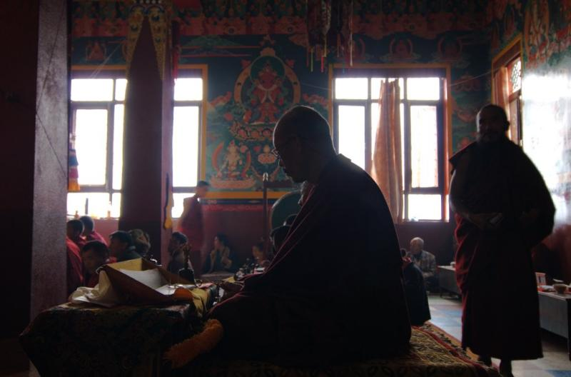 Puja, a buhdism ceremony, in progress