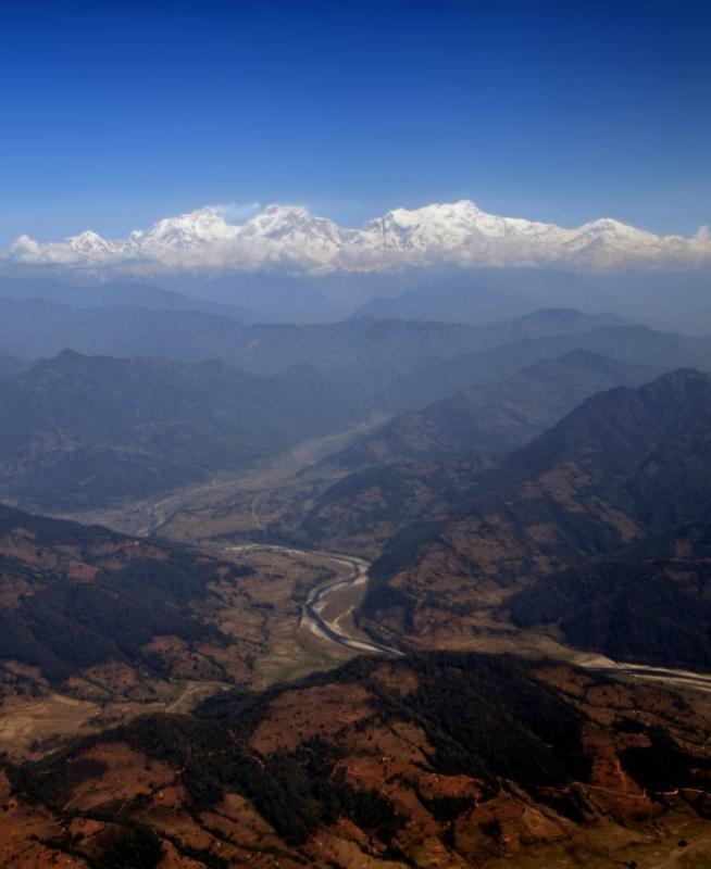 Annapurna peaks, taken during the flight from Kathmandu to Pokhara