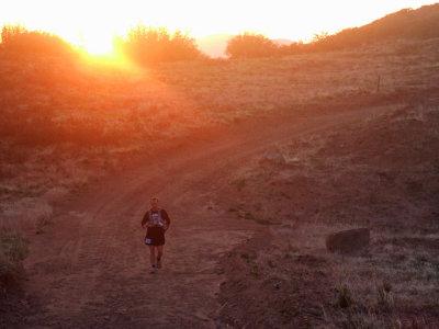 Steve And The Sun Setting Behind The Ridge