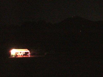 Ridge Aid Station and Lights on Topa