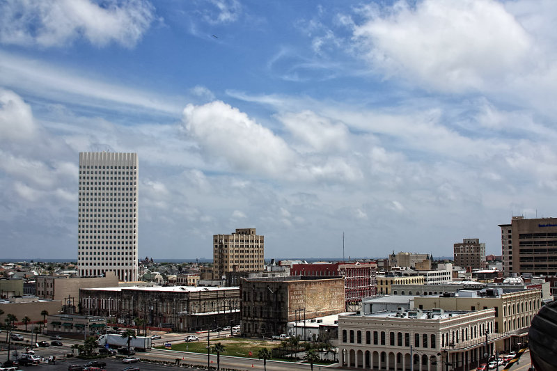 A VIEW OF GALVESTON FROM THE TOP DECK OF THE SHIP