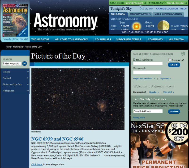 NGC 6939 & NGC 6946 Picture of the Day in Astronomy Magazines Web Site, Oct, 26, 2009