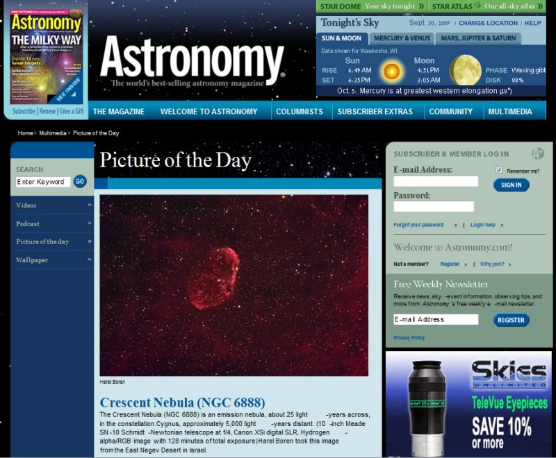 The Crescent Nebula NGC 6888 - Picture of the Day in Astronomy Magazines Web Site - September 30, 2009