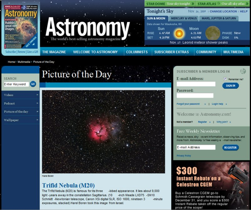 M20 The Trifid Nebula - Picture of the Day in Astronomy Magazines Web Site - November 16, 2009