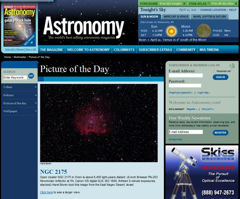 NGC 2174 and NGC-2175 The Monkey-Head - Picture of the Day in Astronomy Magazines Web Site Aprill 14, 2010