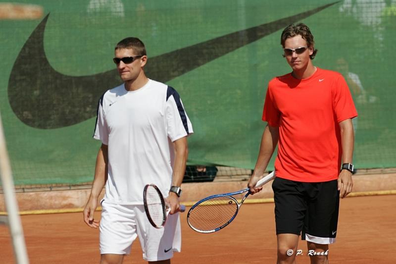 Max Mirnyi and Tomas Berdych on the court