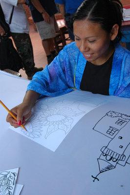Beatrice Painting Silk Wall Hangings at Talita Cumi
