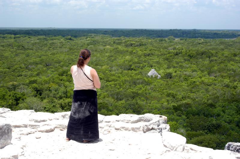 2004 Coba Caitlin at top of big pyramid 6155