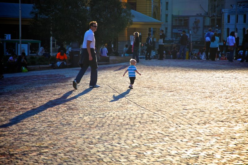 Federation Square-Walking With Dad