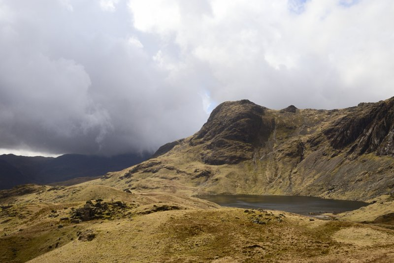 Harrisons Stickle and Stickle Tarn; Crinkle Crags disappearing into cloud at the left