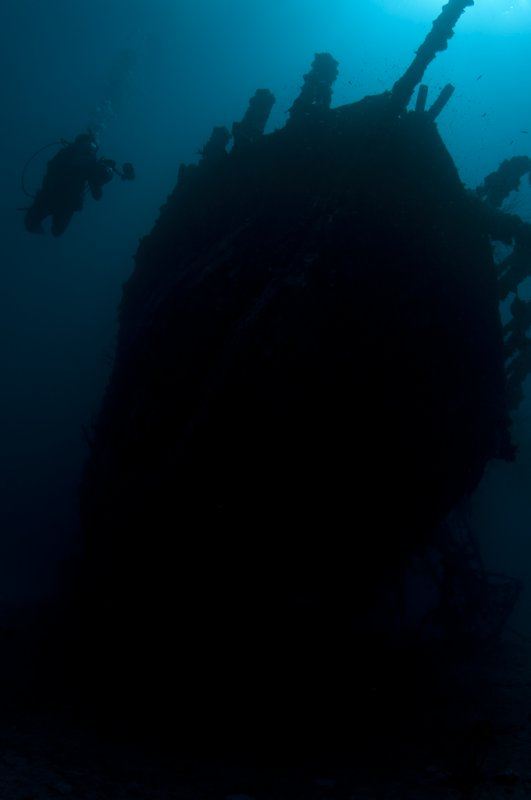 Diver on the wreck of the Fearless
