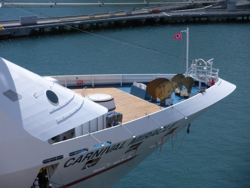 Crew deck on Carnival Miracle docked next to us in San Juan