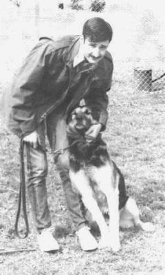 Sgt Michael DeForest with Nemo at Lackland AFB, TX in 1972
