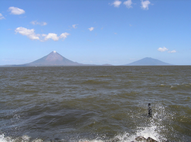 out in Lago Nicaragua, the hazy image of Isla De Ometepe