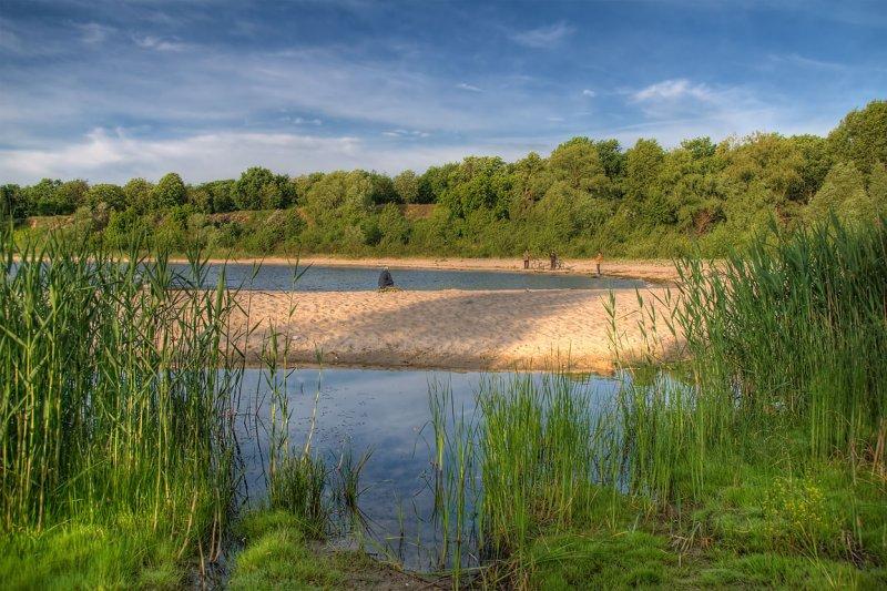 Reeds and fishermen, Chervona Sloboda