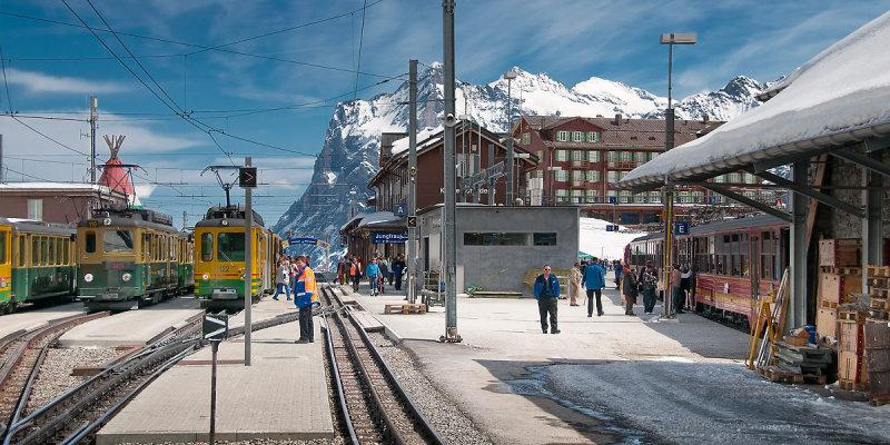 Trains and station, Kleine Scheidegg, Switzerland