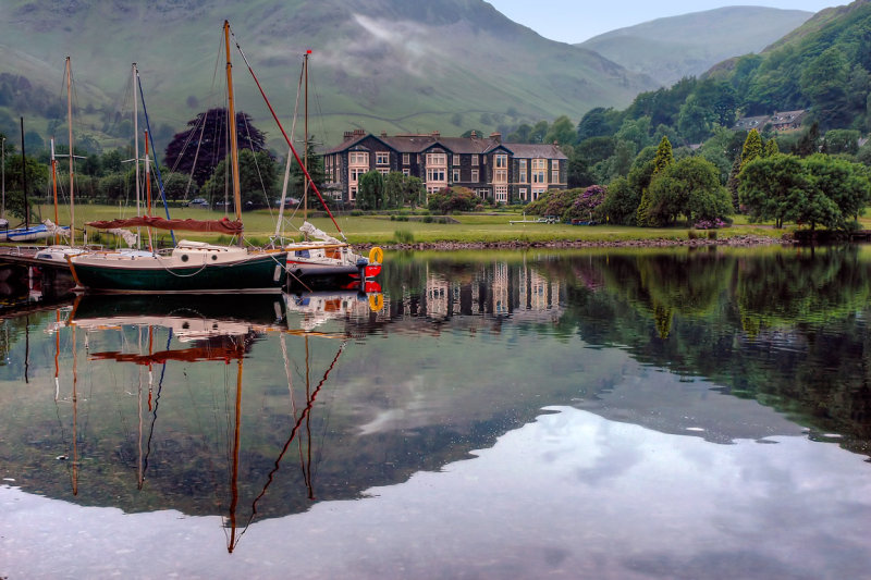 Boats and big house, Ullswater, Cumbria