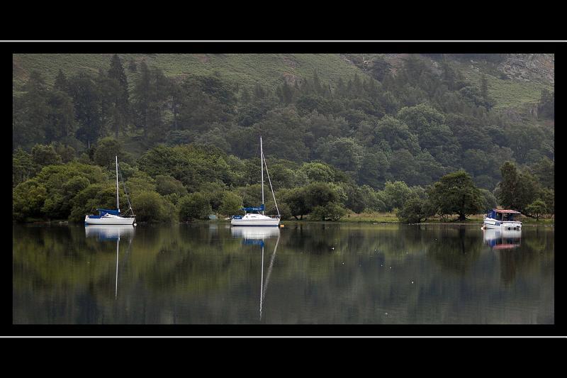 Three boats on Ullswater, Cumbria