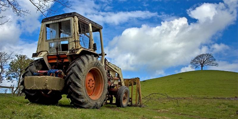 Burrow Hill and tractor, Somerset