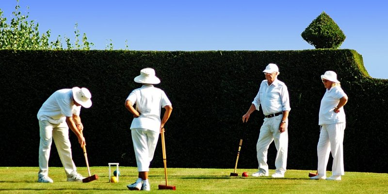 Playing croquet, Lytes Cary Manor