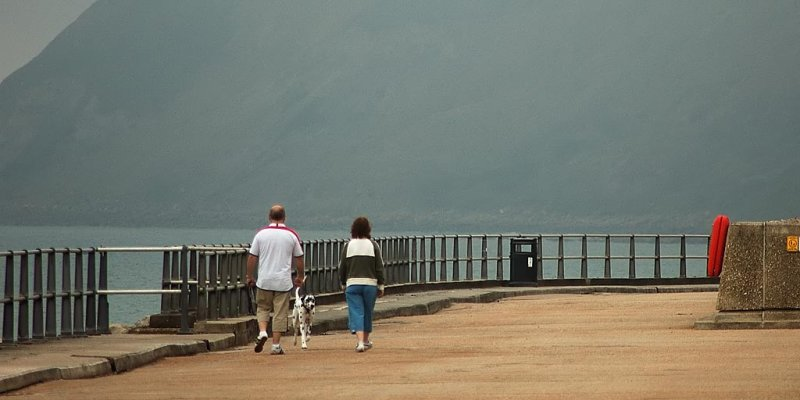 Walking into the mist, West Bay