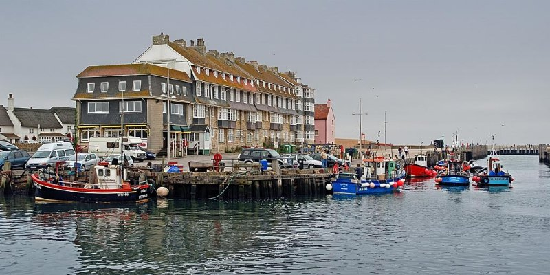 Hotel and harbour, West Bay