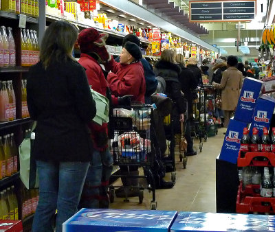 The day before: Lined up to the back of the supermarket