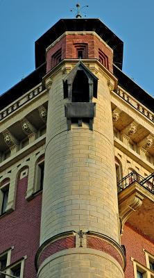 Building on the Vltava at sunset