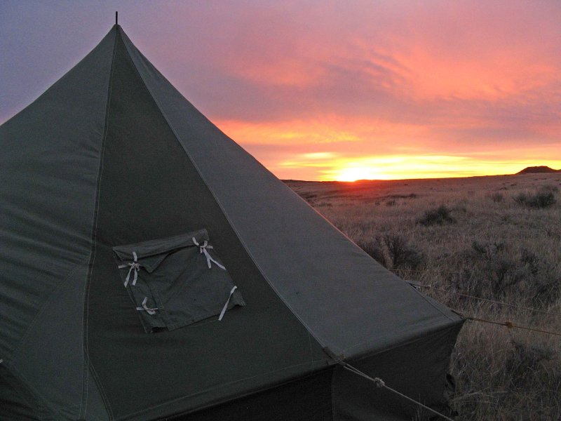 Montana Sunrise And Dads 1953 Army  Artic Tent.