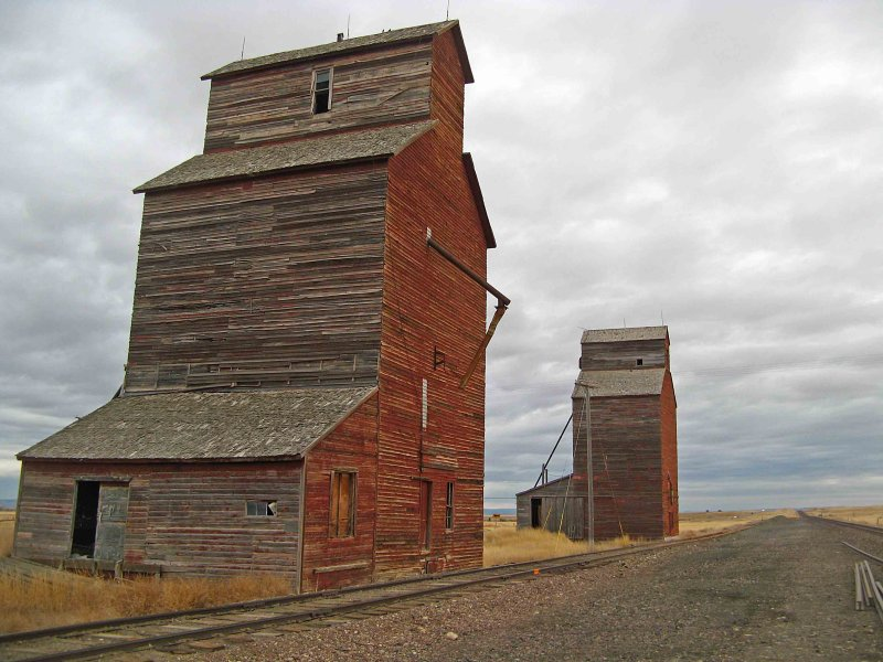 Lonesome Grain Silos Of Hobson Montana.